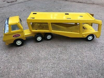 Vintage 1960s Tonka Yellow Pressed Steel Car Hauler Transport Toy Truck
