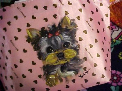 Yorkie Puppy In A Jiffy Hand Painted Makeup Tote Bag