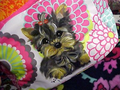 Yorkie Puppy  Hand Painted Tote Makeup / Lunch
