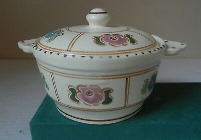 HONITON POTTERY Devon Hand Painted Lidded Bowl with handles