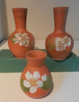 Victorian Watcombe Torquay Hand Painted 3 Small Vases
