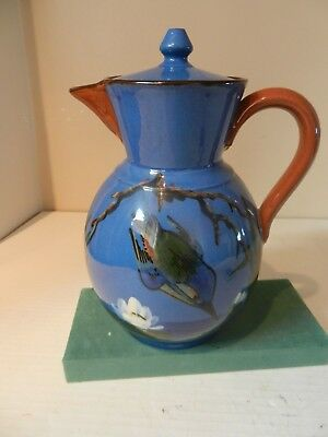 """Watcombe Pottery Coffee/Hot Water Pot - 8"""" High -Diving Kingfisher"""