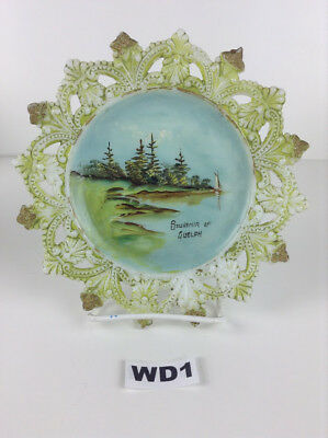 Vintage Painted Milk Glass Plate with Landscape Waterfront Windmill Shell Border