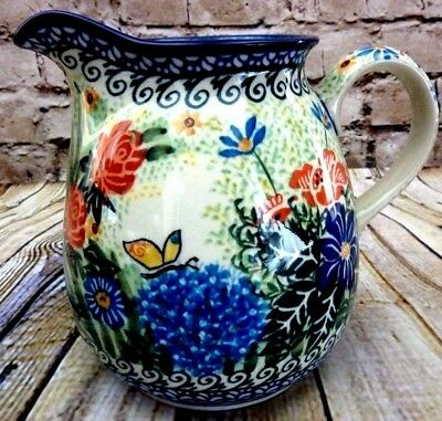 Polish Pottery Unikat Pitcher 2378 Special Edition 2008 Gifts From My Garden EUC