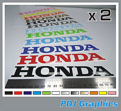 """2 x HONDA Vinyl Decals / Stickers Large 180mm 7"""" - ANY COLOUR  Tank / Bellypan"""