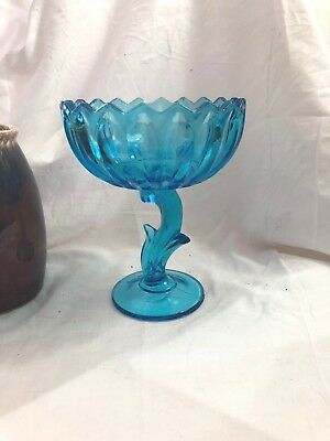 Vintage Aqua Blue Indiana Glass Lotus Blossom Pedestal Compote Center Piece Bowl