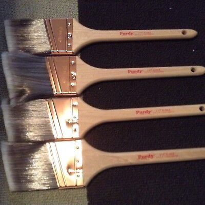 "Lot 2 1/2"" XL Dale  - 4 Angled Purdy Paint Brushes - New never used"