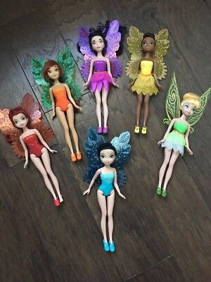 "Lot of 6 Disney Pirate Fairies Tinkerbell 9"" Dolls with Wings 2011 JAKKS PACIFIC"