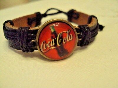Coca Cola with black  Leather    Wrist Band