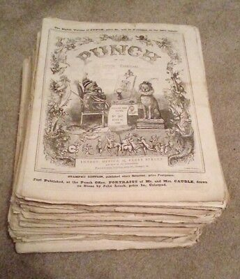Vintage Punch Magazine Job Lot 86 Copies From 1845 - 1859 No Reserve