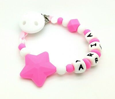 Personalised Baby Dummy Silicone Clip Shower / Christening Gift/Free MAM Adapter