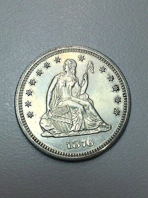 25c Cent Quarter 1876 S UNC Details Seated Liberty Silver Mirror Surfaces