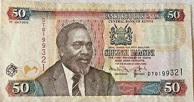 **SALE** 50 Kenya Shillings 2010 P-47e F Condition - Paper Money Banknotes