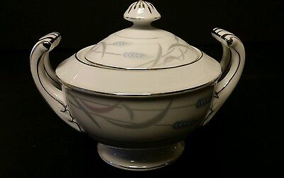 vTg Valmont ROYAL WHEAT Sugar Bowl Silver Fine China Modern Dinnerware Japan