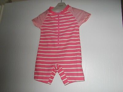 Next Baby Girls Pink / White Striped Sun Protection Swim Suit 6-9 Mths Excel