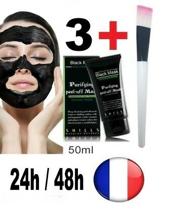3 black mask shills masque peeling charbon noir points noirs acné pinceau 50 ml