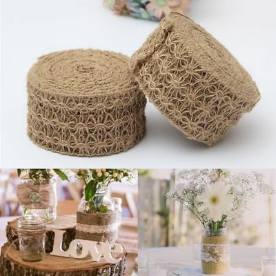 Decor Craft Party Burlap Rope Natural Hessian Jute Twine Hollow Flower Pattern
