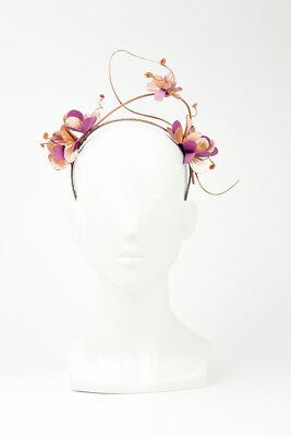Champagne Cocktail - Pink/Gold Delicate Halo Style Leather Floral Headband by...