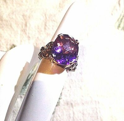 Antique Genuine Purple Amethyst Vintage 925 Sterling Silver Deco Cocktail Ring