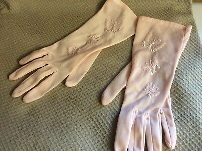 Vintage 1950's Pink Nylon Ladies Gloves Embroidered Butterflies, Imperfect