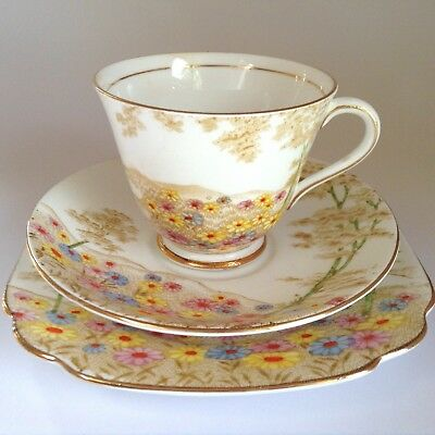 1950s Royal STANDARD Bone China Daisyfield Hand Painted TRIO Cup Saucer Plate
