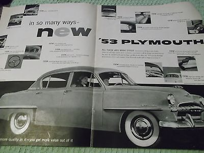 B&W LIFE automotive double page AD for  new '53 Plymouth -high lighting features