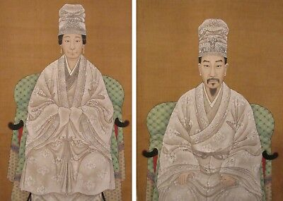 Two large ANTIQUE Chinese ancestor scroll portraits Qing Court Nobility PAIR lot