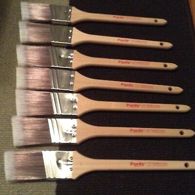 """Lot 1 1/2"""" Clearcut & XL Dale  - 7 Angled Purdy Paint Brushes - New never used"""