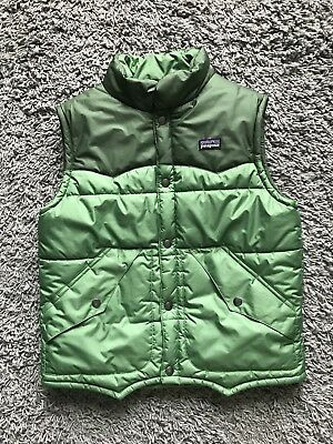 Patagonia Youth Kids Green Puff Goose Down Button Front Vest Size Medium ( 10 )