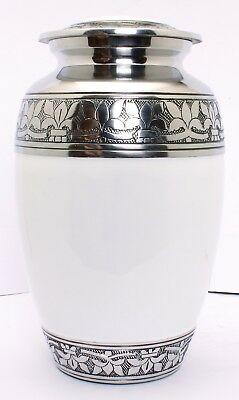Adult Cremation Urn for Ashes, White and Silver Funeral Memorial urn , Promotion