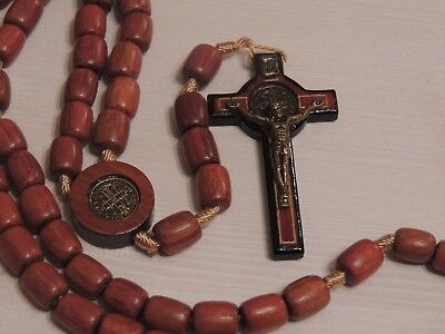 St Benedict Large Wooden Rosary Bead-Brazillian Jatoba Wood Cross-Necklace