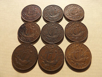 UK - England - Great Britain Half Penny Mix Lot Of Coins LOT-71-AA