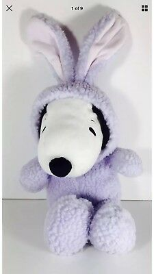 Hallmark Plush Snoopy In Purple Fuzzy Easter Gift Bunny Suit