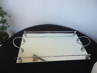 vintage art deco mirror mirrored serving drinks cocktail tray chrome