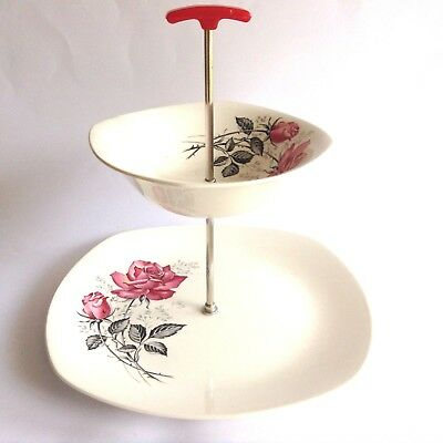 1950s MIDWINTER Stylecraft Fashion Shape 1- 60 Vintage 2 Tier Cake Stand Plate