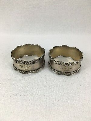 Antique Art Deco Sterling Silver Engraved Napkin Ring Lot 48 Grams Scrap Or Not