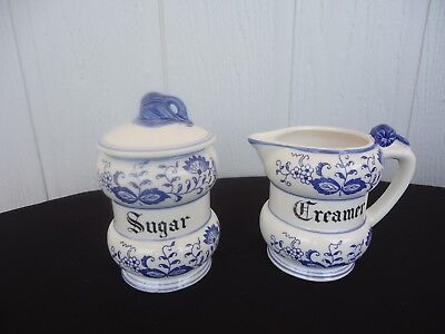 vintage blue & white blue onion milk jug creamer sugar bowl japan