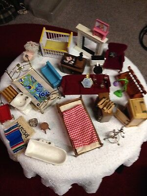 Vtg 25 + Pc. Lot of Dollhouse Furniture Wood Cloth Metal Vintage Plastic