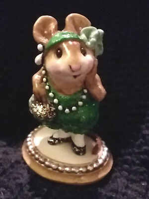 Wee Forest Folk M171 Zelda Green Glitter Bling Dress PEARL BASE RETIRED Mint