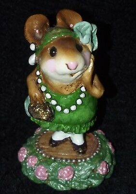 Wee Forest Folk M171 Zelda Green Glitter Bling Dress Rose BASE RETIRED Mint