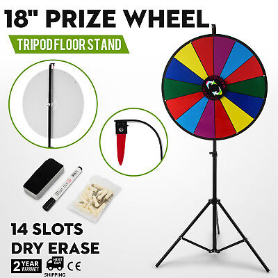 """18"""" Color Prize Wheel Folding Tripod Floor Stand Fortune Spinnig Game Tabletop"""