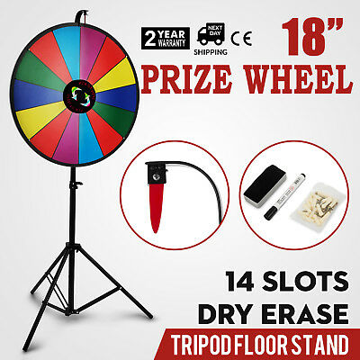 """18"""" Color Prize Wheel Folding Tripod Floor Stand Holiday Dry Erase Spinnig Game"""
