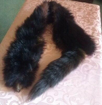 ANTIQUE VINTAGE FOX HEAD FUR STOLE ~  GENUINE  ~   BLACK  ~ 1940's
