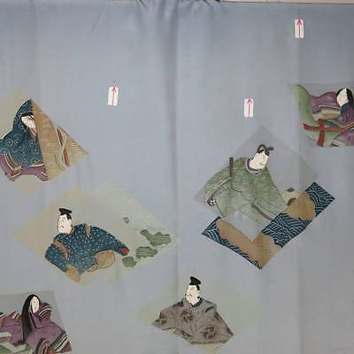 Japanese UNUSED vintage antique MEN KIMONO JUBAN HEIAN noble Gold Leaf Silk RARE