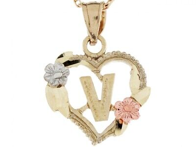 Details about  /10k or 14k Three Tone Real Gold Heart /& Roses Letter O Initial Charm Pendant