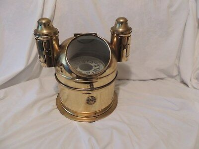 Antique Ship's Binnacle Brass Compass Double Oil Lamp Glass Bergen Nautik