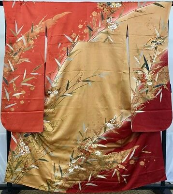 Japanese vintage antique KIMONO FURISODE SAKURA SENSU Gold leaf Butterfly SENSU
