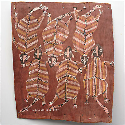 Superb Aboriginal BARK PAINTING by Mick KUBARKKU (Kubarku) - Pigmy Glider Possum