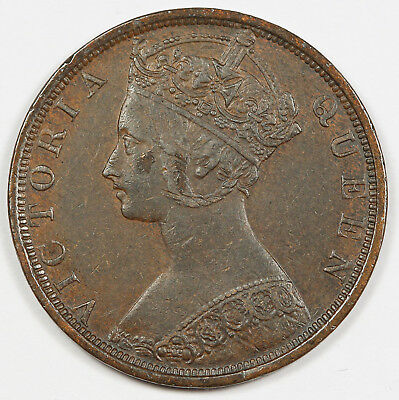 HONG KONG 1901 H 1 Cent Penny Bronze Coin XF/AU KM#4.3 Queen Victoria
