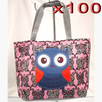 100pc Wholesale Owl Canvas Casual Bag Women Girl Handbag Clearance Mixed Color